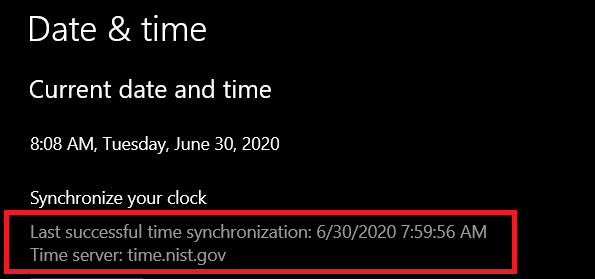 Date & time information window showing time server source